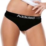 Komfortní bavlněná černá tanga Addicted