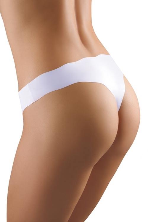 Bílá bezešvá tanga střižená laserem (neviditelné pod oblečením)