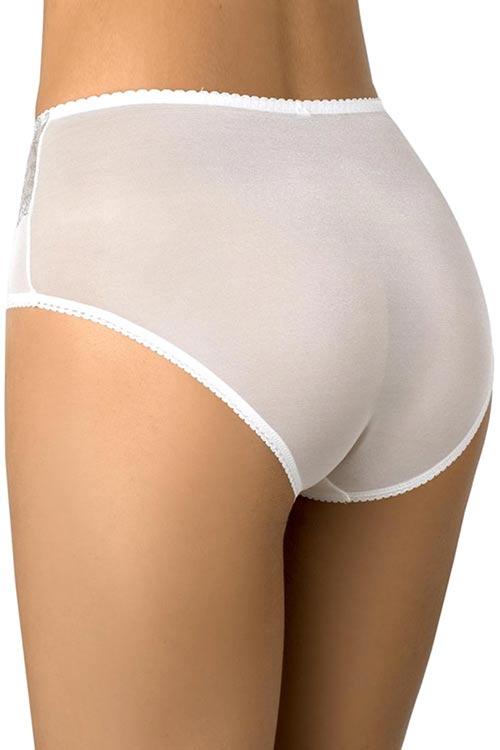 Bílé dámské kalhotky s vyšším pasem