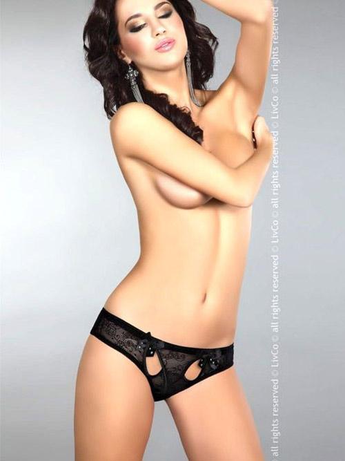 Kalhotky s otvory LivCo Corsetti URVASI černé