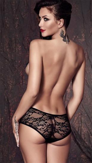 Svůdné sexy průhledné černé kalhotky ANAIS Carol