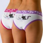 Trendy bavlněné kalhotky klasického střihu Funny White - 2 ks