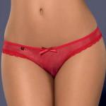 Tylové červené kalhotky - tanga lemované krajkou