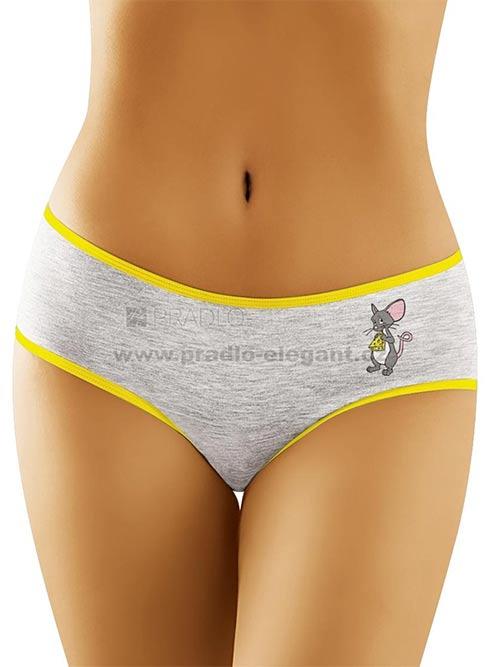 Šedé bavlněné kalhotky s elastickým olemováním