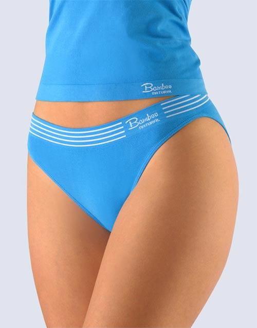 Modré dámské kalhotky s úzkým bokem
