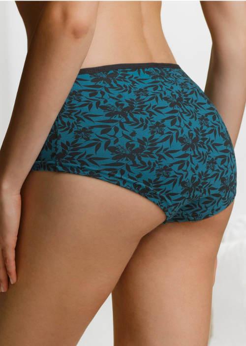 Modré francouské kalhotky s květinovým potiskem