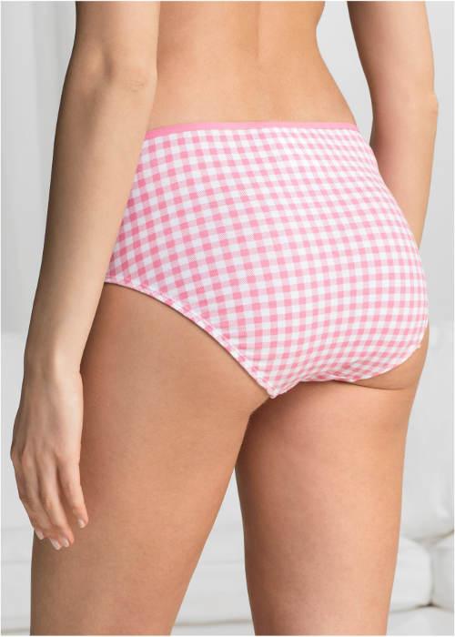 Růžovo-bílé kostkované kalhotky