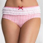 Vyšší bavlněné kalhotky s drobnou kostičkou