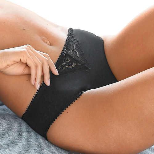 Černé francouzské kalhotky s krajkovou vsadkou