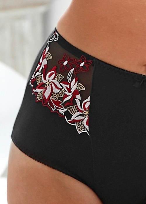 Černé zeštíhlující kalhotky s květinovou výšivkou