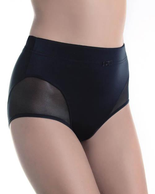 Černé stahovací kalhotky s širokou gumou v pase