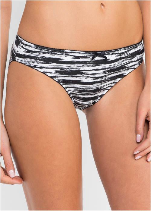 Žíhané černobílé dámské kalhotky