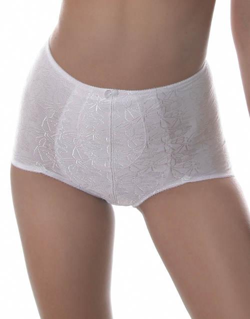 Bílé stahovací kalhotky s žakarovým vzorem
