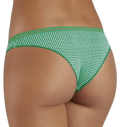 Zelené karované brazilské kalhotky