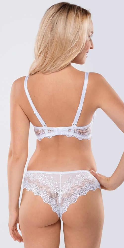 Bílé krajkové dámské spodní prádlo s brazilskými kalhotkami