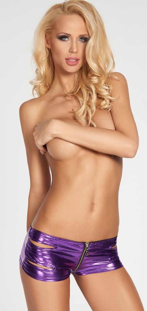 Lesklé erotické kalhotky z polyesteru se zipem na přední straně