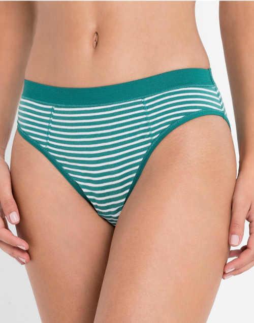 Tyrkysové bavlněné dámské kalhoty s proužky