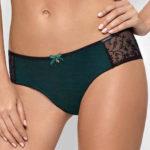 Zelené brazilské kalhotky s černým průsvitným ozdobným tylem