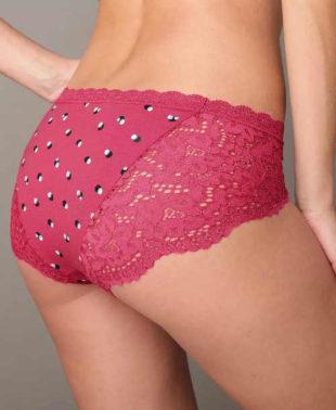 Růžové dámské kalhotky s krajkovými boky