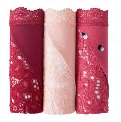 Sada 3 kusů růžových dámských kalhotek