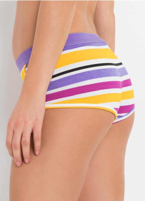 Vyšší bavlněné francouzské kalhotky s barevnými proužky