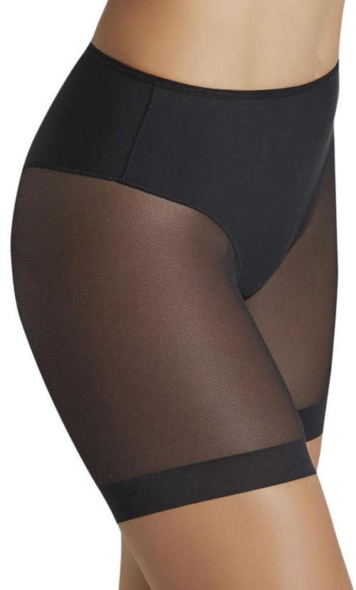 Dámské černé stahující kalhotky s dlouhými průsvitnými nohavičkami