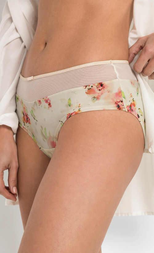 Béžové dámské kalhotky se síťovanou vsadkou v pase