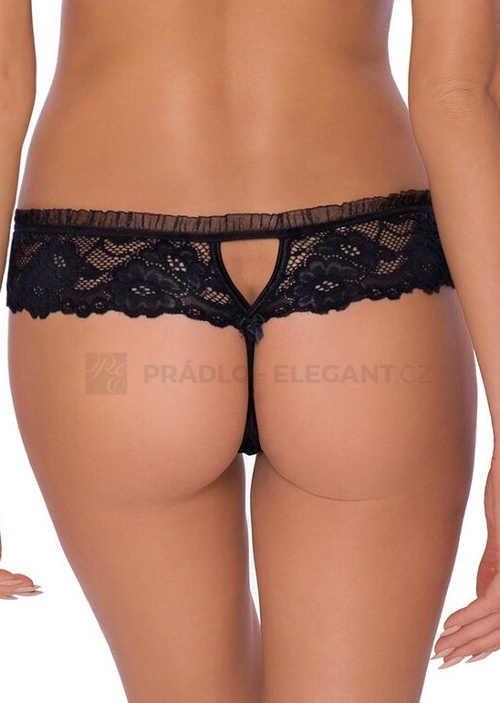 Černé tanga kalhotky s širším krajkovým pasem