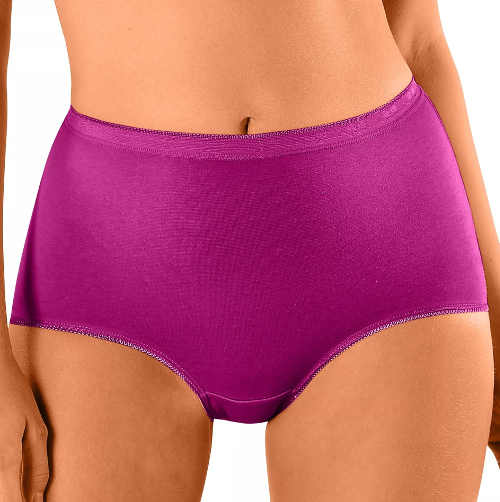 Pohodlné fialové dámské bavlněné kalhotky pro starší