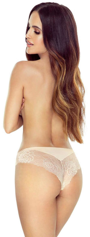 Tělové brazilské kalhotky s krajkovým zadním dílem