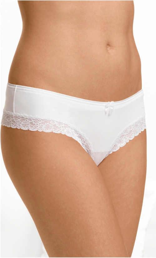 Pohodlné bílé kalhotky Bonprix s krajkovými lemy