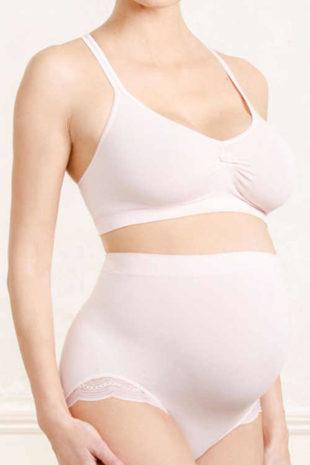 Komfortní těhotenské kalhotky ve světle růžovém provedení