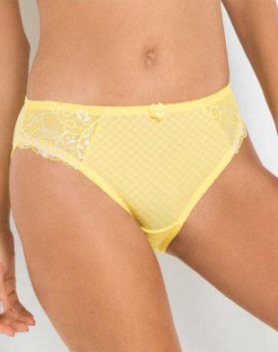Žluté dámské kalhotky s květinovou krajkou